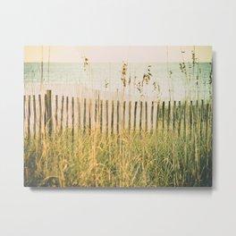 Beach Fence at Sunrise -- High Key Metal Print