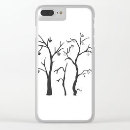 Silhouette of a rowan tree with berries Clear iPhone Case