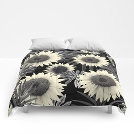 Tropical Sunflower Jungle Night Leaves Pattern #2 #tropical #decor #art #society6 Comforters