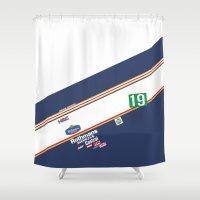 honda Shower Curtains featuring Freddie Spencer 1985 Rothmans Honda by Krakenspirit