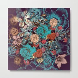 Beautiful print with hand drawn roses and butterflies in vintage style Metal Print
