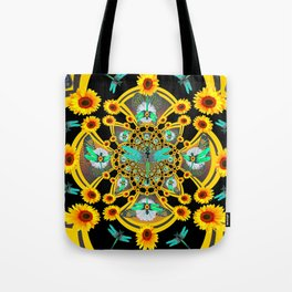 BLUE DRAGONFLIES YELLOW-BLACK GEOMETRIC ART Tote Bag