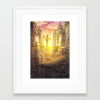 broad city Framed Art Prints featuring Broad Way by Olga Andreyeva