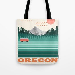 Oregon - retro throwback 70s vibes travel poster van life vacation mountains to sea Tote Bag