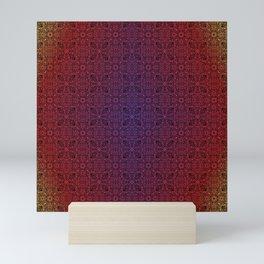 dark mandala repeating pattern - gradient, sunrise  Mini Art Print