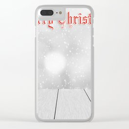 Snowy Merry Christmas Clear iPhone Case