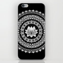Black and White Lotus Mandala iPhone Skin