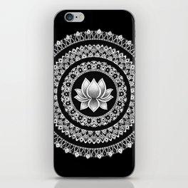 Black and White Lotus Mandala iPhone Skin