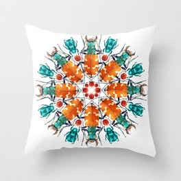 Bug Mandala Throw Pillow