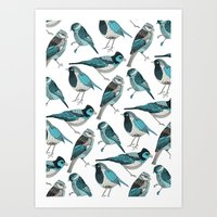 yetiland Art Prints featuring pale green birds by Polkip