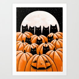 Black Cats in the Pumpkin Patch Art Print