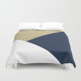 Gold meets Navy Blue & White Geometric #1 #minimal #decor #art #society6 Duvet Cover