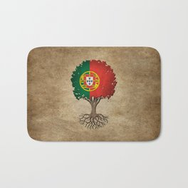 Vintage Tree of Life with Flag of Portugal Bath Mat