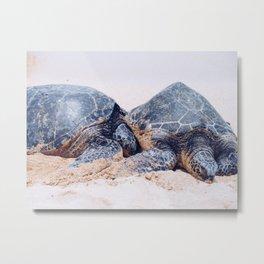 Sea Turtles In Love Metal Print