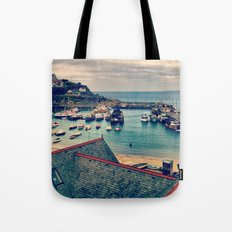 Grey Clouds Above The Ferocious Water  Tote Bag