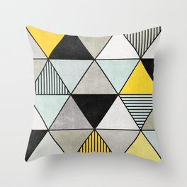 Colorful Concrete Triangles 2 - Yellow, Blue, Grey Throw Pillow
