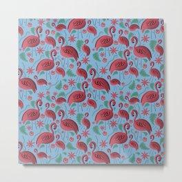 Flamazing day flamingos pattern blue Metal Print