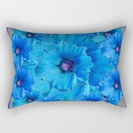 GORGEOUS BLUE FLOWERS  PATTERN ABSTRACT GREY ART Rectangular Pillow