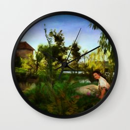 WILDFLOWERS Impressionist Landscape Wall Clock