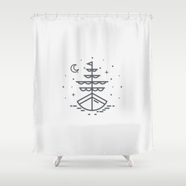 Boat illuminated by the moon and stars Shower Curtain