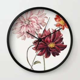 Vintage Dahlias  Wall Clock