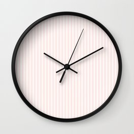 Classic Small Pink Rosebud Pastel Pink French Mattress Ticking Double Stripes Wall Clock