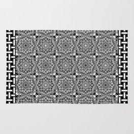 Black and White Lace Mandala and Basket Weave Tile Rug