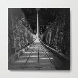 nice view on the Geierlay Bridge - black and white Metal Print