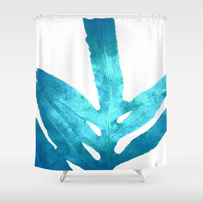 Ocean Blue Fern Shower Curtain