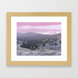 Pink Sunset on Mountains Framed Art Print