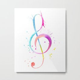 Watercolor abstract Music Note Metal Print
