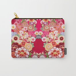 Red Floral Burst Carry-All Pouch