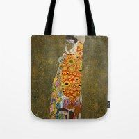 gustav klimt Tote Bags featuring Gustav Klimt - Hope, II by ArtMasters