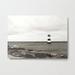 Lighthouse - black and white Metal Print