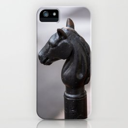 Standing Guard - Horse Head Hitching Post in New Orleans French Quarter iPhone Case
