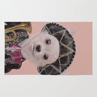 mexican Area & Throw Rugs featuring Mexican Chihuahua by Rachel Waterman