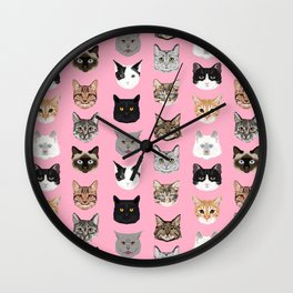Cute Cat breed faces smiling kitten must have gifts for cat lady cat man cat lover unique pets Wall Clock