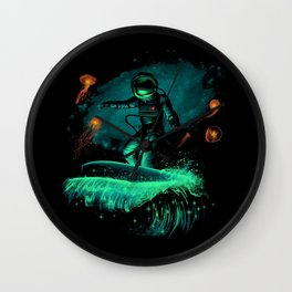 Space surfer art Wall Clock