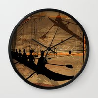 rowing Wall Clocks featuring Rowing by Robin Curtiss