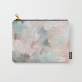Blush Pink Mint Green Blue Coral Peach Abstract Flower Wall Art Springtime Painting Modern Wall Art Carry-All Pouch