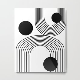 Modern Minimalist Line Art in Black and White Metal Print