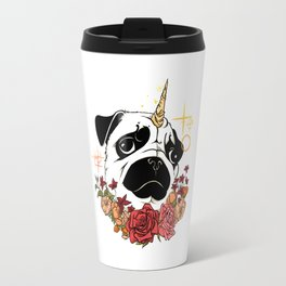 Sparkly Flowers Puggicorn Travel Mug