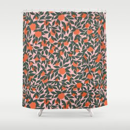Oranges and Leaves Pattern - Pink Shower Curtain