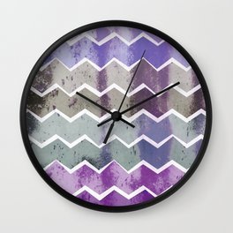 CHEVRON STRIPES - PURPLE Wall Clock