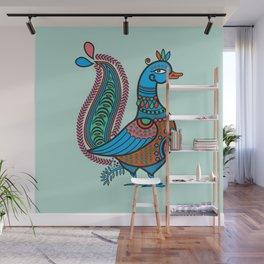 Ethnic Art Colorful Indian Bird Wall Mural