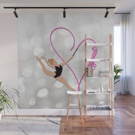 Pink Heart Gymnast Text Wall Mural