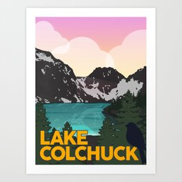 Lake Colchuck Vintage Travel Poster Art Print