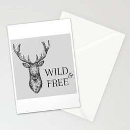 Grey Wild & Free Stag Traveller Deer Stationery Cards