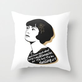 Millionaire Quote - Dorothy Parker - Black & Gold Throw Pillow