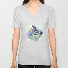 Watercolor Under Sea Collection: Octopus Unisex V-Neck